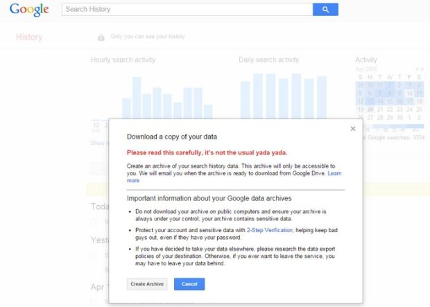 google-download-search-history